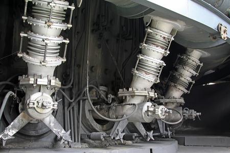 steel works: iron works blast furnace parts, closeup of photo