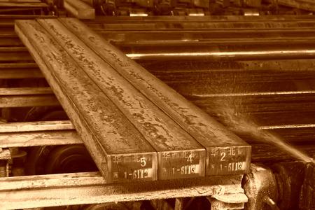 Hot ingot in a steel plant, closeup of photo Stok Fotoğraf