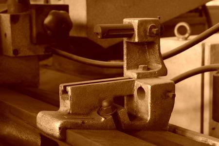 workbench: metalworking workbench, closeup of photo