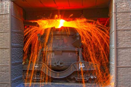 tangshan city: TANGSHAN - JUNE 20: Transportation molten iron crucible, on June 20, 2014, Tangshan city, Hebei Province, China