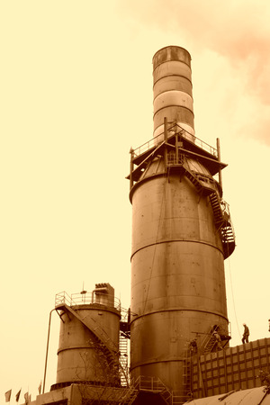 tangshan city: TANGSHAN - JUNE 20: Sintering workshop chimney in a steel mill, on June 20, 2014, Tangshan city, Hebei Province, China  Editorial