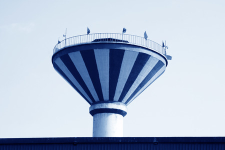 the water tower: water tower building exterior, closeup of photo   Stock Photo