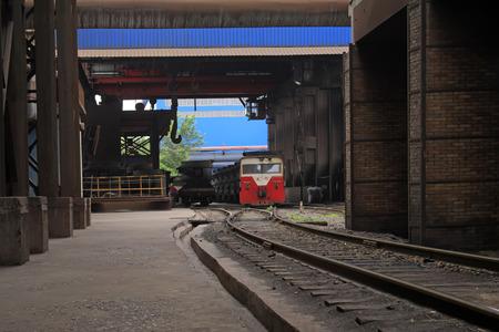 crucible: TANGSHAN - JUNE 19: Transportation molten iron crucible train, on June 19, 2014, Tangshan city, Hebei Province, China