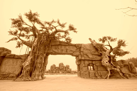 lifelike: TANGSHAN - JULY 21: JingSheng farm gate landscape architecture, on July 21, 2014, Tangshan city, Hebei Province, China  Editorial