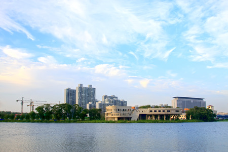 TANGSHAN - JULY 21: buildings and North River Park landscape, on July 21, 2014, Tangshan city, Hebei Province, China