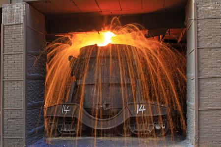 crucible: TANGSHAN - JUNE 20: Transportation molten iron crucible, on June 20, 2014, Tangshan city, Hebei Province, China
