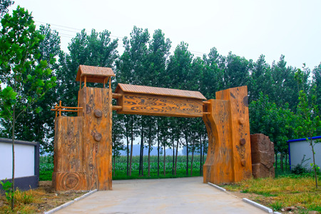 tangshan city: TANGSHAN - JULY 21: JingSheng farm gate landscape architecture, on July 21, 2014, Tangshan city, Hebei Province, China  Editorial