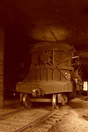 tangshan city: TANGSHAN - JUNE 14: Transportation molten iron crucible train, on June 14, 2014, Tangshan city, Hebei Province, China