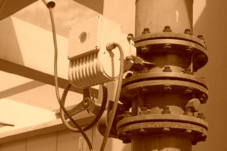 exhaust valve: Metal pipe vent in an old factory