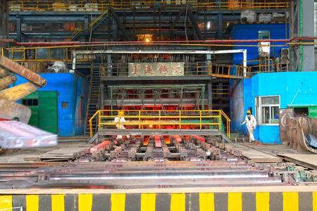 TANGSHAN - JUNE 20: continuous casting machine in a steel plant, on June 20, 2014, Tangshan city, Hebei Province, China