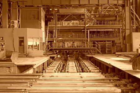 billet: TANGSHAN - JUNE 14: Steel mills continuous casting workshop, on June 14, 2014, Tangshan city, Hebei Province, China