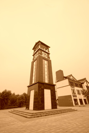 ancients: TANGSHAN - JULY 21: clock tower building landscape in tang dynasty amorous feelings street, on July 21, 2014, Tangshan city, Hebei Province, China