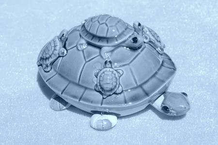 articles: Ceramic turtle furnishing articles, closeup of photo