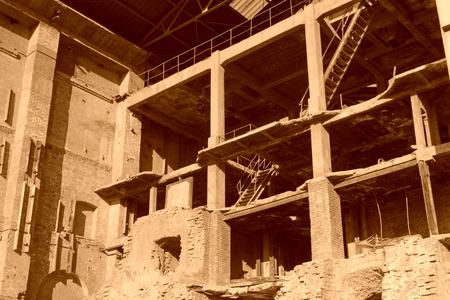 kiln: broken kiln furnace in a factory, China