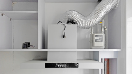 Smoke lampblack machine pipeline in kitchen