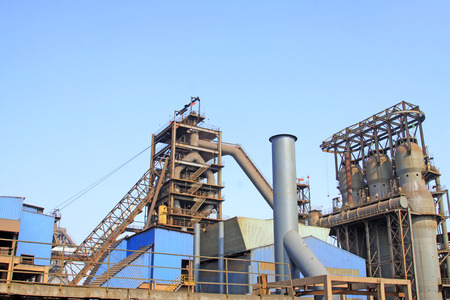 blast furnace in the steel mills, closeup of photo photo