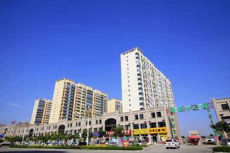 city and county building: LUANNAN COUNTY - SEPTEMBER 15: Luannan county city building scenery on September 15, 2014, Luannan county, Hebei Province, China