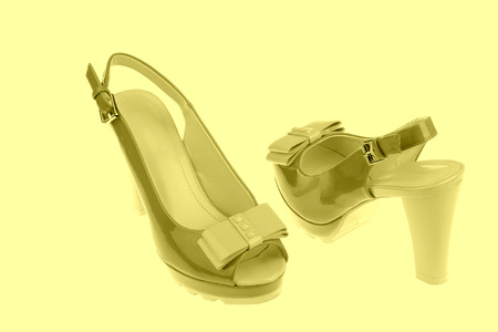 peep toe: beautiful Womens high-heeled color sandals on a white background
