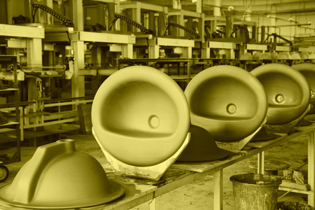 semifinished: LUANNAN COUNTY - JANUARY 5: The ceramic semi-finished parts in the production line, in the ZhongTong Ceramics Co., Ltd. January 5, 2014, Luannan county, Hebei Province, China.
