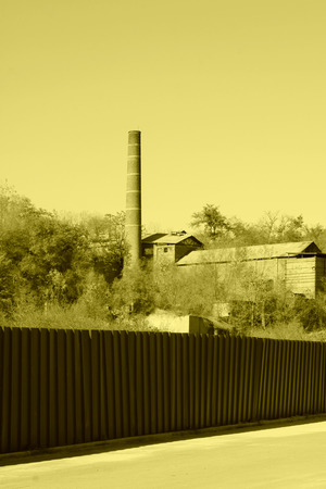eliminated: industrial chimney in a factory, north china