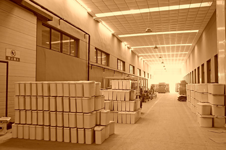 closestool: LUANNAN COUNTY - JANUARY 5: The ceramic closestool products stacked in the warehouse, in the ZhongTong Ceramics Co., Ltd. January 5, 2014, Luannan county, Hebei Province, China. Editorial