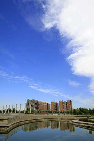 city and county building: Luannan county city building scenery on September 15, 2014, Luannan county, Hebei Province, China Stock Photo