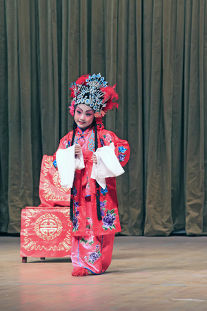 stage props: LUANNAN COUNTY - SEPTEMBER 22: Chinese classical PingJu stills, on September 22, 2014, Luannan county, Hebei Province, China