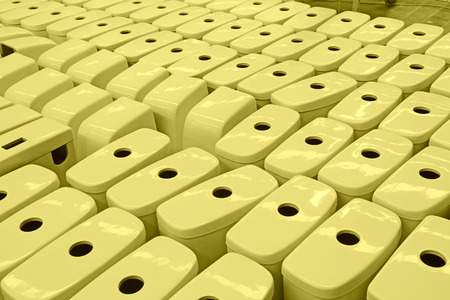 LUANNAN COUNTY - JANUARY 5: The neat rows of ceramic closestool products assemblies in a warehouse, in the ZhongTong Ceramics Co., Ltd. January 5, 2014, Luannan county, Hebei Province, China. Editorial