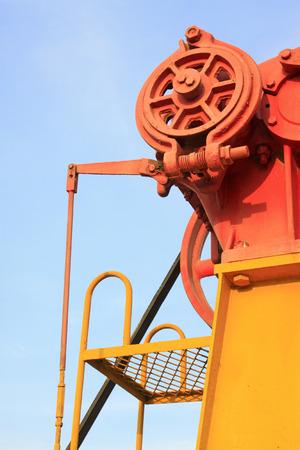 crank: Unidad de bombeo haz polea del cig�e�al, primer plano de la foto