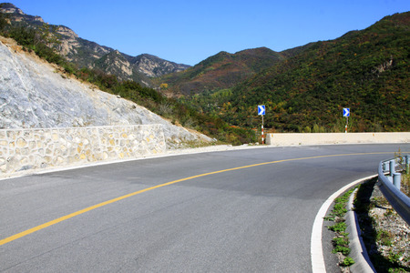 Winding mountain roads, closeup of photo