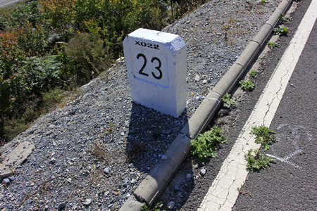 milestones: Highway milestone, closeup of photo