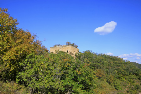 the great wall and the fall: Great Wall in the mountains in autumn, China