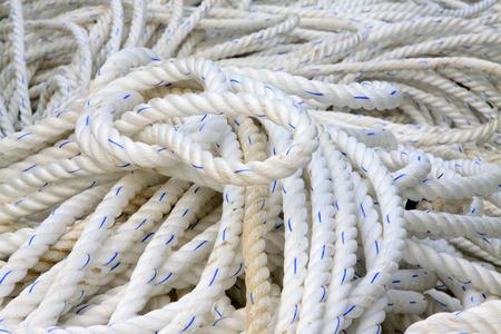 strong toughness: white nylon rope, closeup of photo Stock Photo