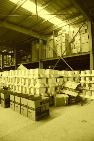 LUANNAN COUNTY - JANUARY 5: The ceramic closestool products assemblies in a warehouse, in the ZhongTong Ceramics Co., Ltd. January 5, 2014, Luannan county, Hebei Province, China.