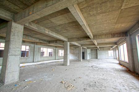 unfinished: unfinished concrete cast-in-situ hall, closeup photo