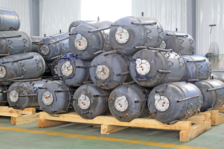 semifinished: Stainless steel pressure tanks in a production workshop, on august 23, 2014, Luannan County, Hebei Province, China Editorial