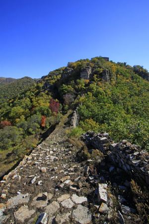 the humanities landscape: Great Wall in the mountains in autumn, China