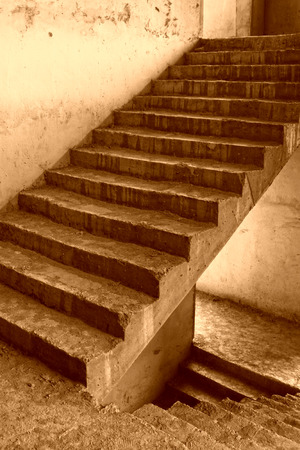 unfinished: Unfinished stairs, closeup of photo Stock Photo