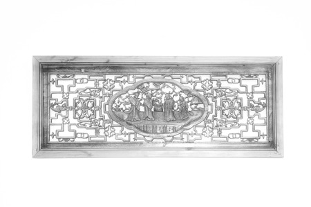 cultural history: Chinese traditional woodcarving handicraft on the white background