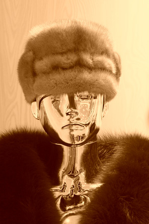 alloy: alloy mannequin with fur hat in a shop