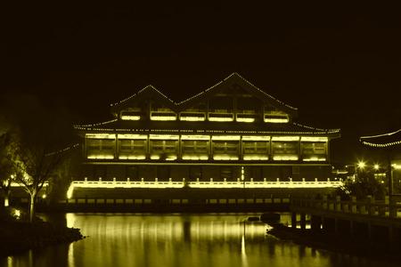 hebei: FENGNAN COUNTY - NOVEMBER 16: The HuiFeng Lake night scenery on november 16, 2013, FengNan county, hebei province, china.
