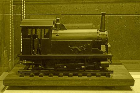 hebei: TANGSHAN - NOVEMBER 16: The Dragon locomotive model in the kailuan museum, november 16, 2013, tangshan, hebei province, china. Editorial