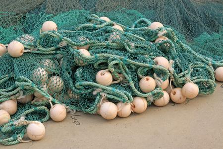 floats: Nylon fishing nets and floats, closeup of photo Stock Photo