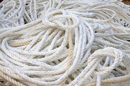 nylon: white nylon rope, closeup of photo Stock Photo