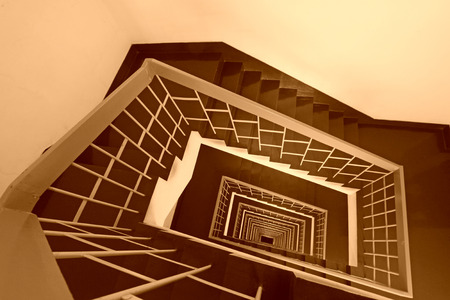 landscape mode: BEIJING - JANUARY 17: The stairs down landscape in the Tangshan building, on January 17, 2014, Beijing, China. Editorial