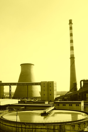 factory power generation: TANGSHAN - NOVEMBER 20: The sewage treatment plants and thermal power plant, in the YongXin paper company, November 20, 2013, tangshan city, hebei province, China. Editorial