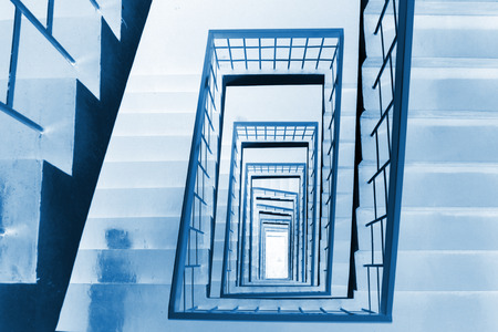 landscape mode: The stairs down landscape in the Tangshan building, on January 17, 2014, Beijing, China.