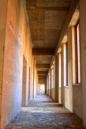unfinished: Unfinished buildings long corridor, closeup of photo