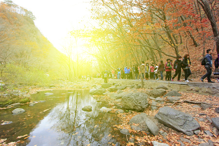 irradiation: BENXI CITY- OCTOBER 12: GuanMenShan scenic spot tourists, on october 12, 2014, Benxi City, Liaoning Province, China