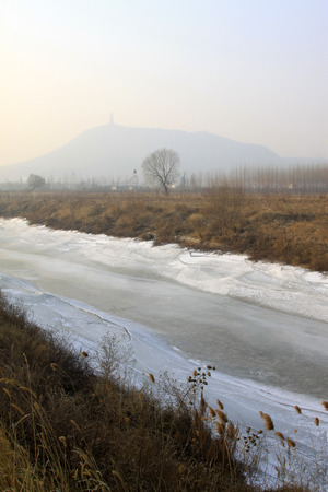 craze: ice river and mountain in the wild, closeup of photo